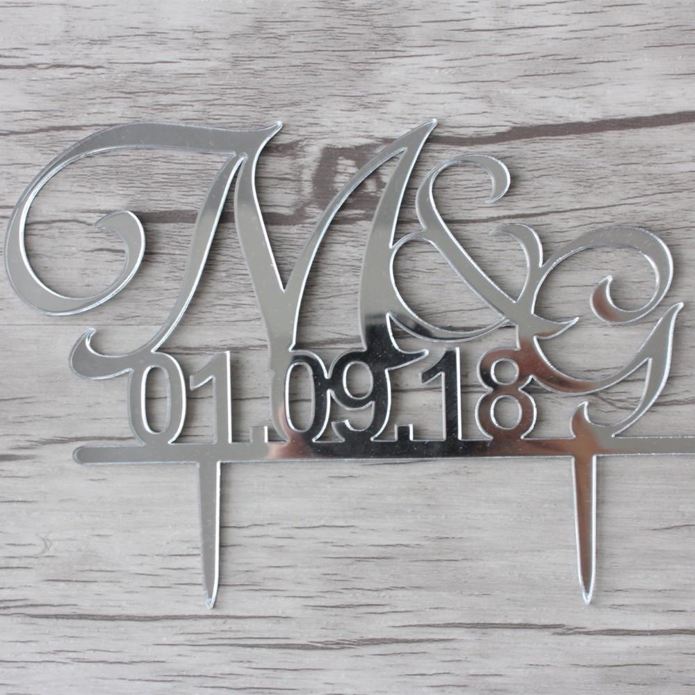 Acryl bruiloft decoratie aangepaste taart Toppers initialen taart - Feestversiering en feestartikelen - Foto 4