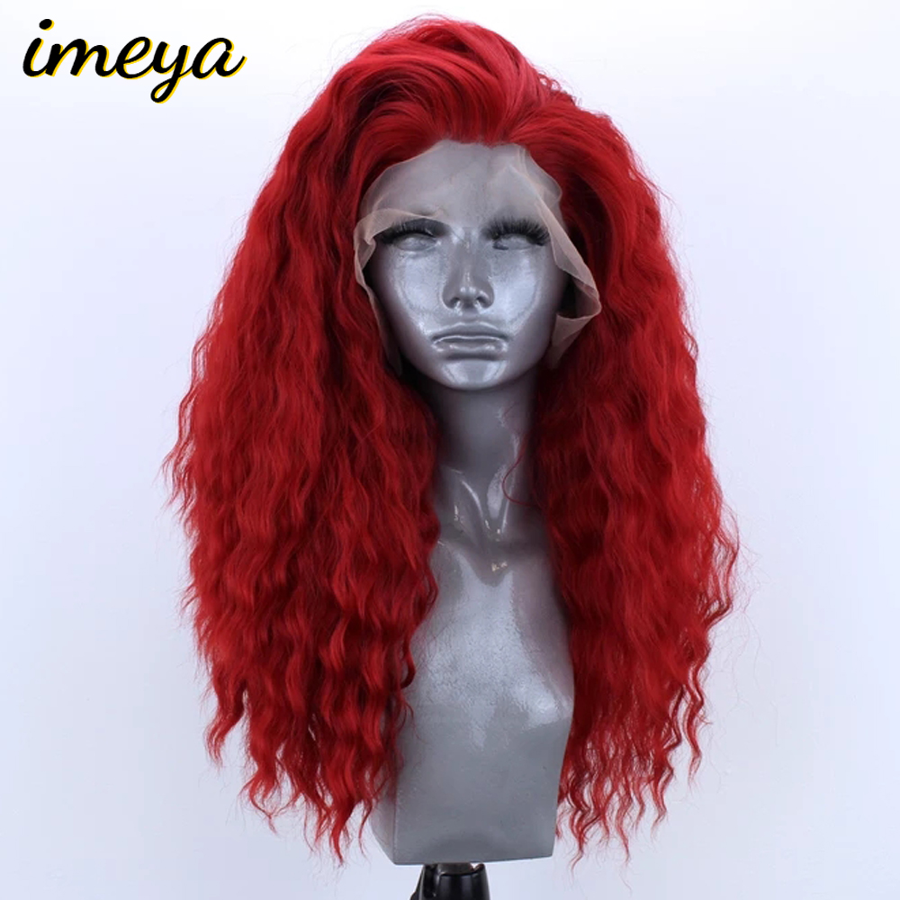 Imeya Bouncy Curly Synthetic Lace Front Wigs Red Color Half Hand Tied Heat Resistant Replacement Cosplay Wigs For Women