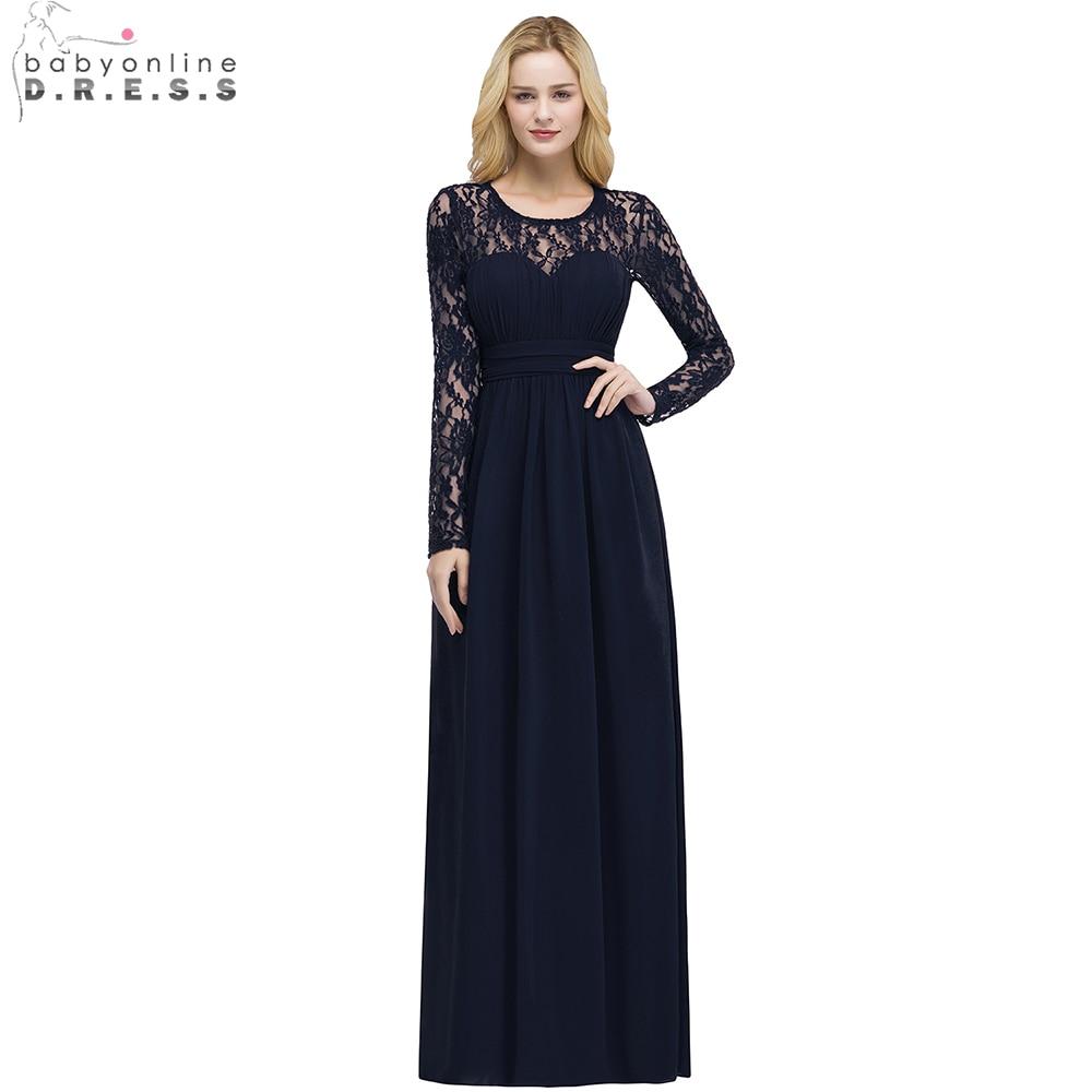 Babyonline Long Sleeves Lace Chiffon O Neck   Evening     Dresses   2019 Burgundy Formal   Dresses   Party   Dress   vestido de festa longo