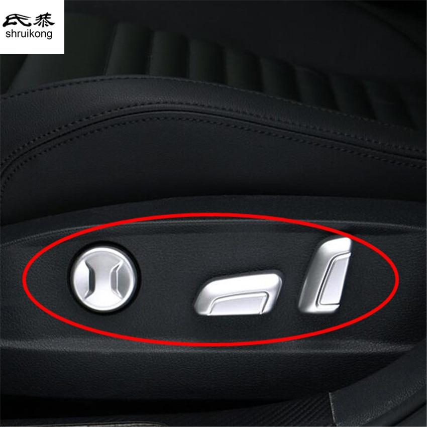 6pcs/lot car stickers ABS Chrome Seat adjustment button decorative cover sequins for 2016 2017 VW Volkswagen Passat B8 Variant