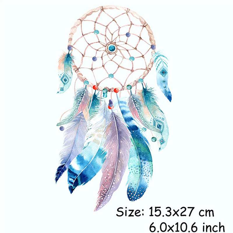 Applique Large Blue Yellow Dream catcher Patch Iron On Heat Transfer