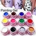 Saviland 1pcs 3D Glitter Semi Permanent Paint Drawn Bio Gel 12 Acrylic Colorful Painting UV Gel Polish Nail Art Vernis