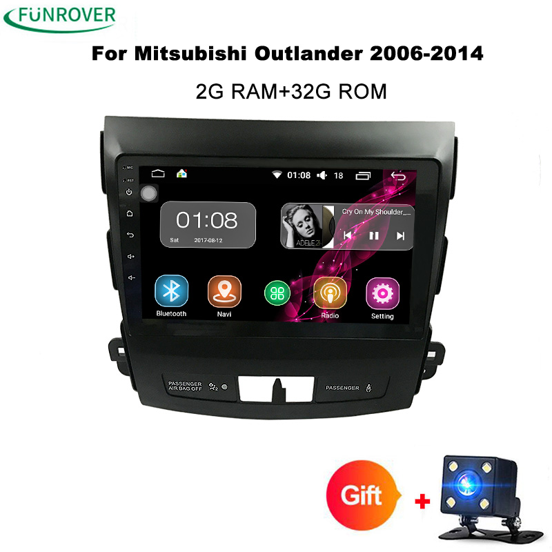 Funrover Android 8.0 Car DVD for Mitsubishi Outlander 2006-2014/Peugeot 4007/Citroen C-Crosser Radio Navigation 2 din 2G +32GROM