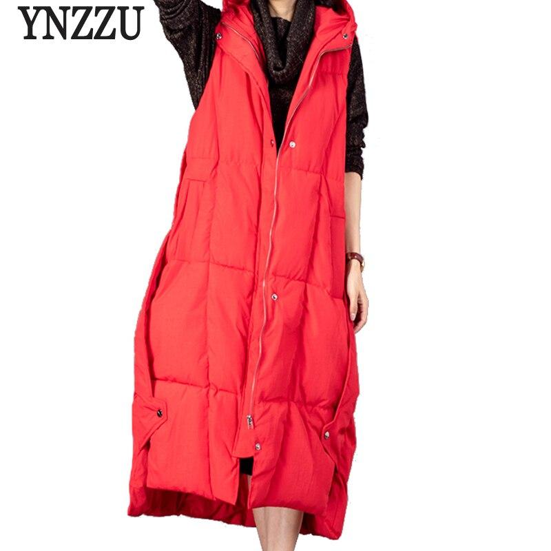 YNZZU Vintage 2018 Automne Hiver Femmes Down Gilet Solide Couleur Longue Style Élégant Femelle Gilet À Capuchon Chaud Parka Outwear YO650