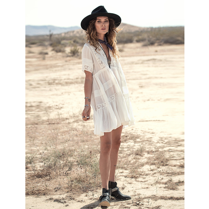 dc5a4860aaf1 Casual Loose Fit Summer Dress women white cotton mini dresses Vneck  embroidery Lace fashion bohemian style Hippie Boho -in Dresses from Women s  Clothing on ...