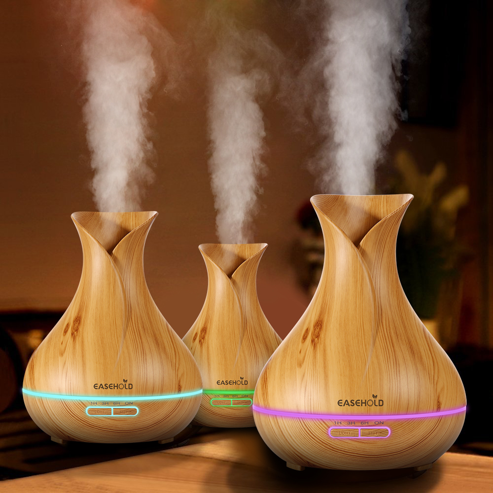 EASEHOLD 400ml Aroma Essential Oil Diffuser Ultrasonic Air Humidifier 7 LED Color Changing With Wood Grain For Room Office Auto vintage wood grain color block flannel rug