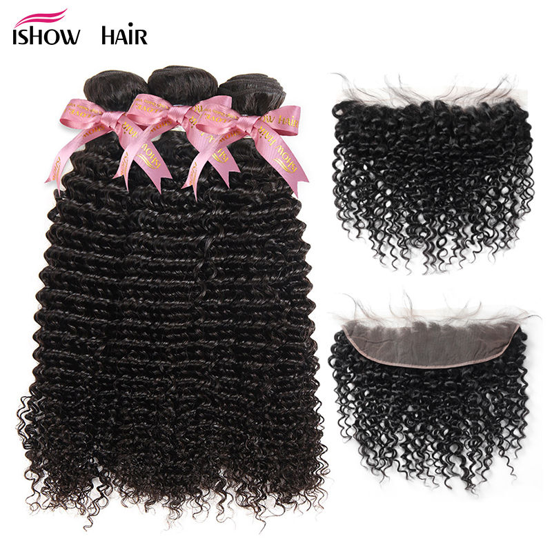 Ishow Kinky Curly Hair Bundles With Closure Remy Human Hair Bundles With Closure 13X4 Lace Frontal Brazilian Hair Weave Bundles