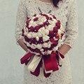 2017 Свадебный Букет Дешевые Красное Вино Бордовый Букет Невесты Свадебные Цветы Свадебные Букеты Искусственные букет де брак
