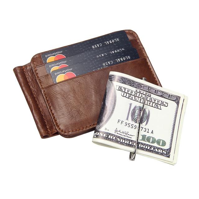 Vintage Leather Wallet Brand Men's Money Clip Genuine Cow Leather Credit ID Holders for Men Retro Money Case Male Bifold Wallets