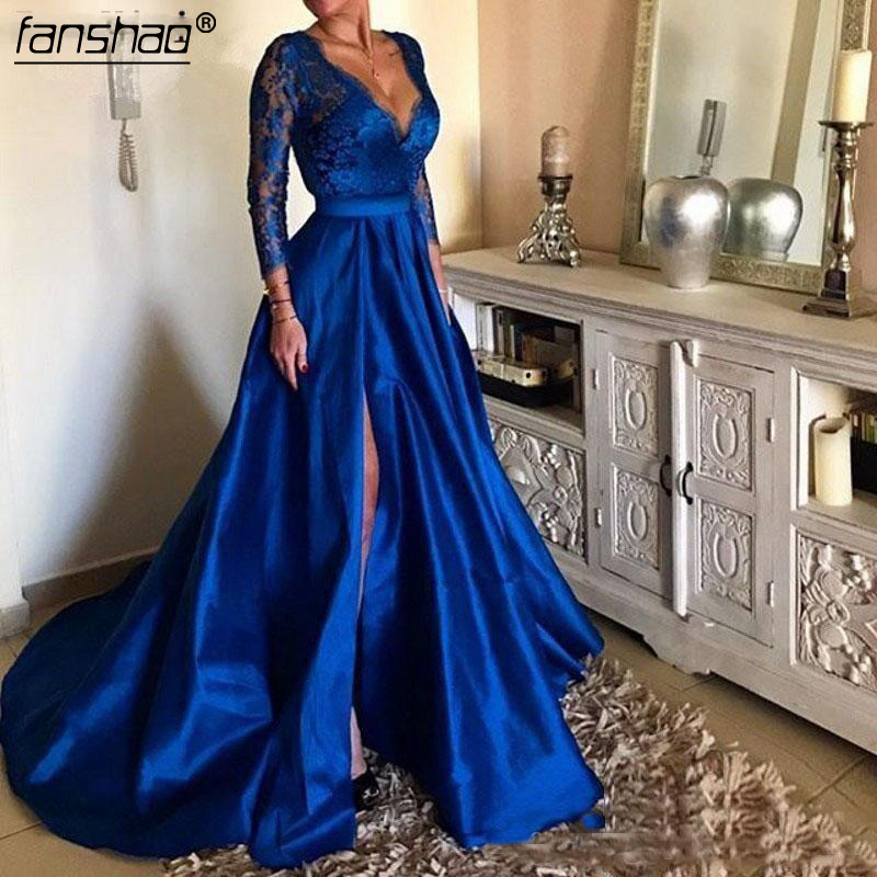 2019 Royal Blue Plus Size Prom Dresses V Neck Lace Appliques Long Sleeve Front Split Formal Evening Dresses Party Gowns in Prom