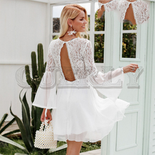 CUERLY Embroidery flare sleeve hollow out women dress Vintage lace backless sexy dress Elegant ruffle autumn winter white dress cuerly elegant women satin dress ruffle flare sleeve lady wrap dress 2019 autumn winter green sexy female dress vestidos festa