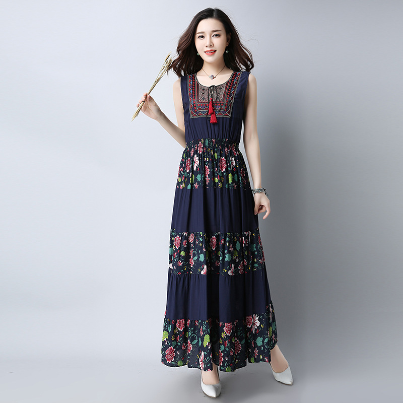 d1296f8dce58 2018 vintage cotton linen vest dress summer size printing fashion travel  dress a generation-in Dresses from Women s Clothing on Aliexpress.com