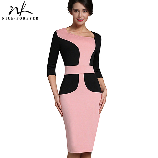Nice-forever Vintage Ladylike Patchwork Asymmetrical Neck Office Dress Bodycon Female 3/4 Sleeve Sheath Work Women Dress B348