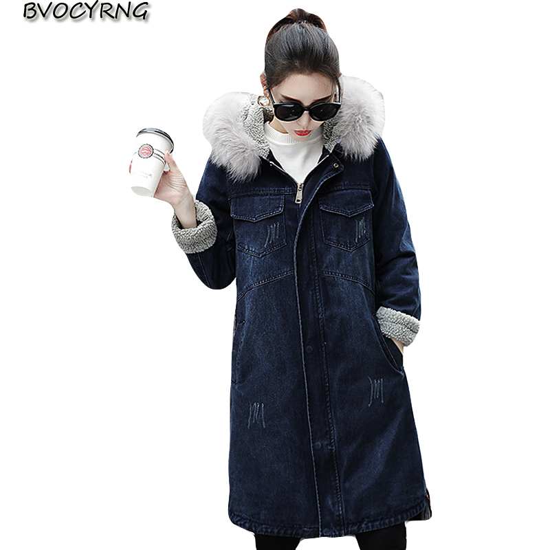 c9f3385599a Detail Feedback Questions about Lady New Winter Thick lambswool Denim Jackets  2018 Hooded Big Size Women Jeans Coats Long Plus Size Coat Female Denim  Outwea ...