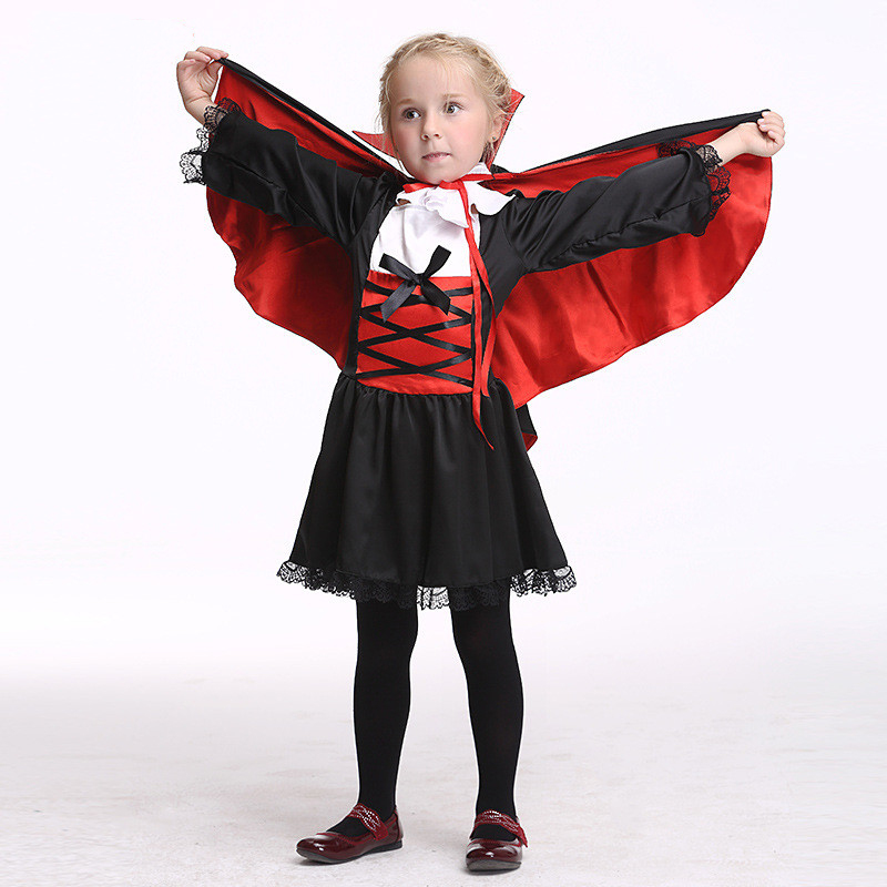 Children Girls Princess Vampire Dress Costumes Halloween Children's Day Kids Carnival Party Cosplay Dress Cloth With Shawl children egyptian pharaoh costumes 2016 new cosplay masquerade halloween childen kid suit cleopatra royal fantasia disfraces