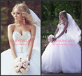 Free Shipping to Russia 2016 New Arrival Sweetheart Crystal Wedding Dresses Princess Ball Gown Tulle With Lace Up Back BO5998
