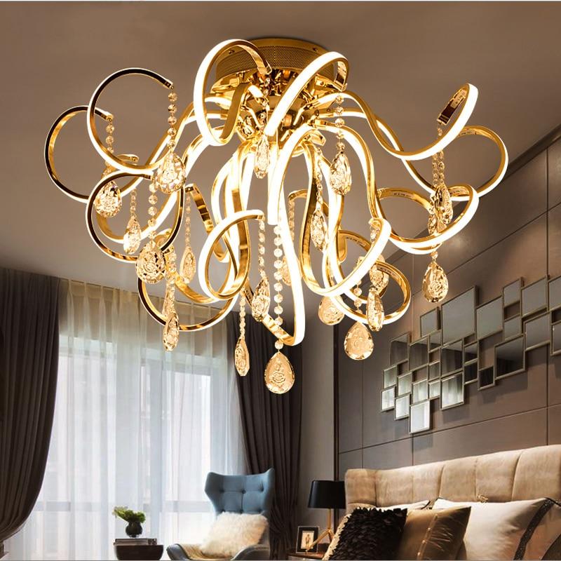 Creative personality art modern simple led chandelier living room lights K9 crystal luxury restaurant bedroom lights