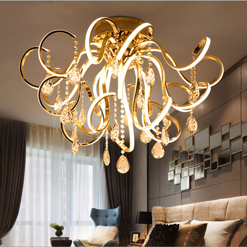 Creative personality art modern simple led chandelier living room lights K9 crystal luxury restaurant bedroom lights-in Chandeliers from Lights & Lighting