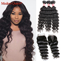 3 Bundles Malaysian Loose Deep Wave with Closure 7A Malaysian Virgin Hair With Closure Cheap Human Hair Weft with Lace Closure