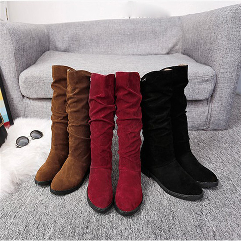 Women Boots Female Winter Shoes 2018 Fashion Woman Fur Warm Snow Slip On Boots Fashion Mid-Calf Casual Boots botas mujer #40B недорго, оригинальная цена