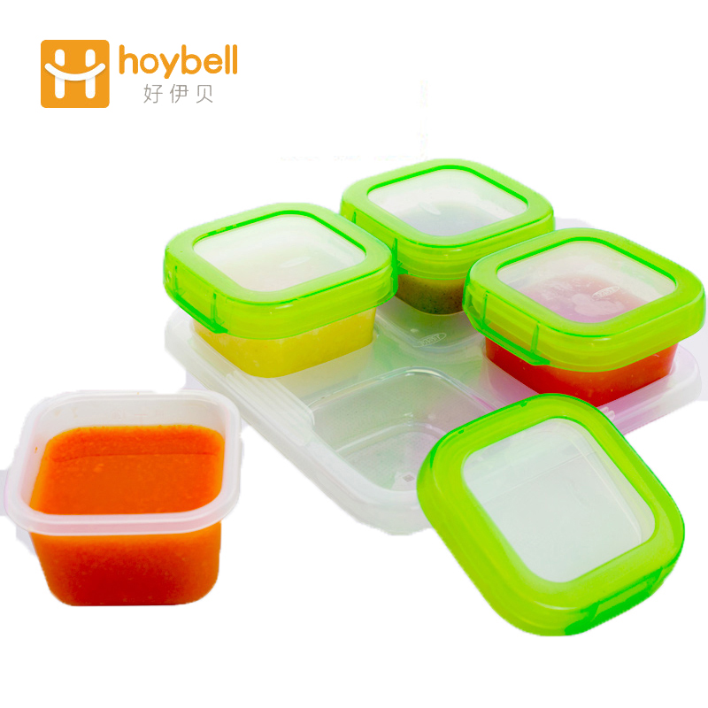 Child baby food container storage baby feeding transparent box baby food container four boxes