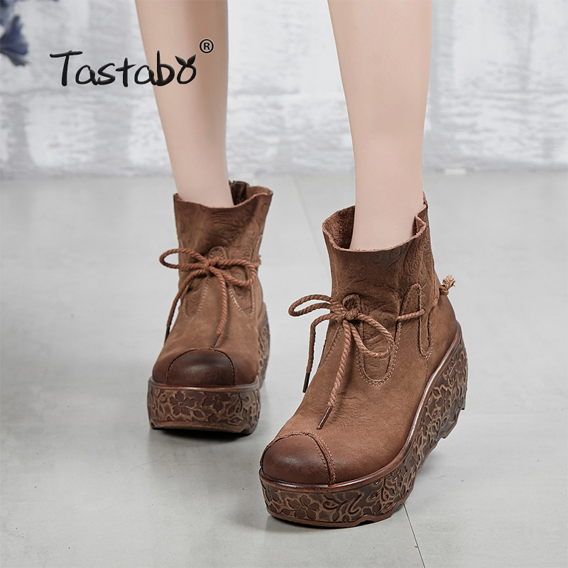 Tastabo 2018 Fashion Platform Boots Women Retro Autumn Genuine Leather Ankle Boots for Women Soft Martin Shoes Ladies Wedges