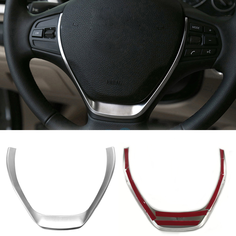 Silver chrome steering wheel button <font><b>trim</b></font> frame cover sticker decorative accessories for <font><b>BMW</b></font> 1 3 Series F20 <font><b>F30</b></font> F34 GT 118i 320i image