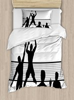 Volleyball Duvet Cover Set Silhouette of a Team Playing Beach Volleyball Ball and Net Outdoor Activities 4 Piece Bedding Set