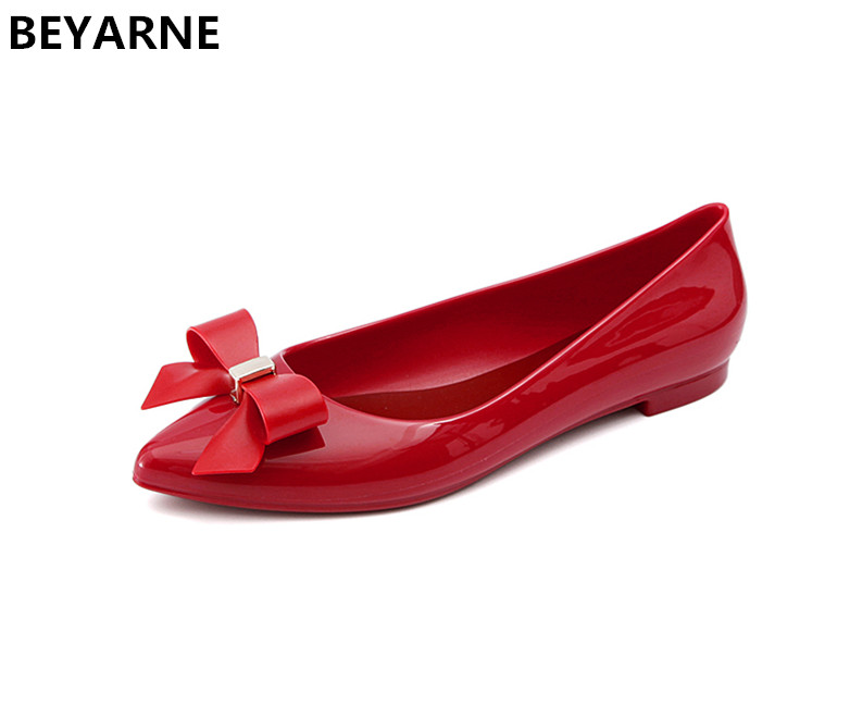 Beyarne Fashion Woman Jelly Shoes Lady Flat Rain Sandals