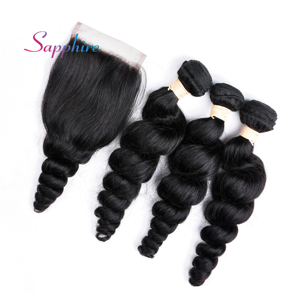 Sapphire Brazilian Hair With Closure 4 Pcs/Lot 3 Human Hair Weave Loose Wave Bundles With Closure Non Remy Hair Products