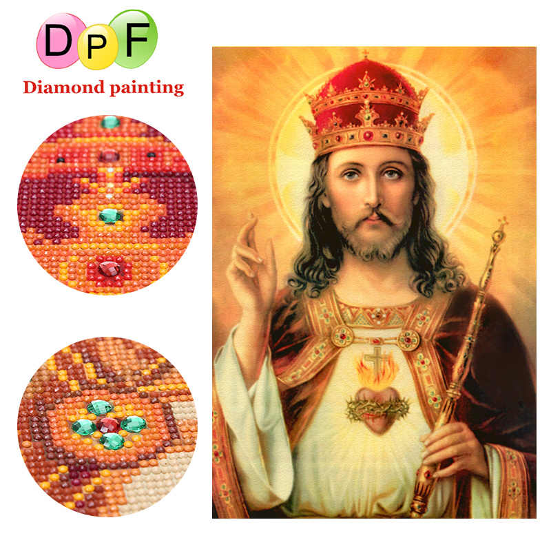 DPF The sacred Religiou Special-shaped diamond DIY 5D Diamond painting cross stitch Round full diamond mosaic Embroidery gift