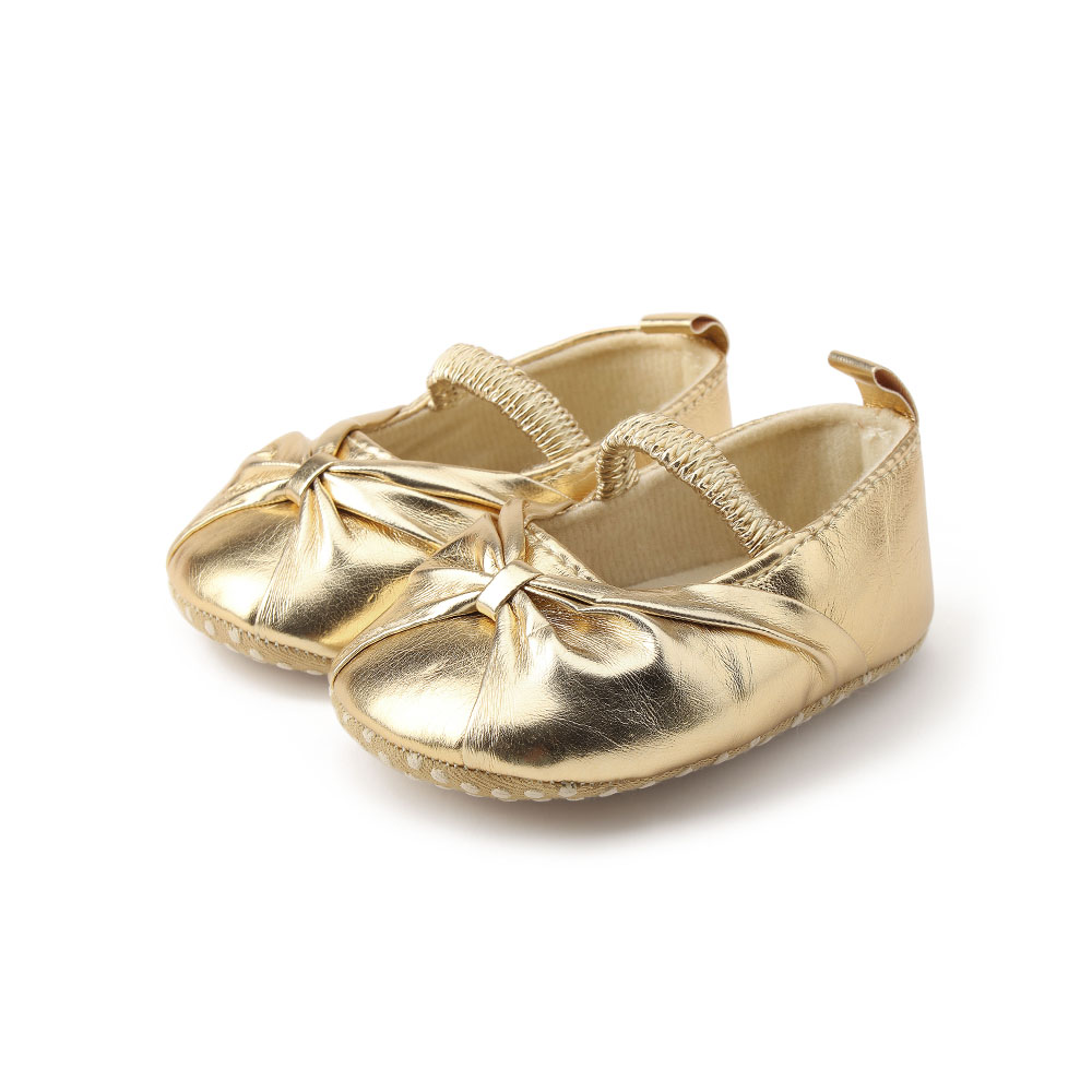 2505fe11e107a Delebao Pure Gold Newborn Baby Shoes New Hot Sale Elegant Fold The Princess  First Walkers For Spring/Autumn Baby Girl Shoes