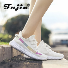 Fujin Women Shoes Dropshipping Female 2019 Summer New Mesh Breathable Casual Sneakers Flats Students Vulcanize Pink