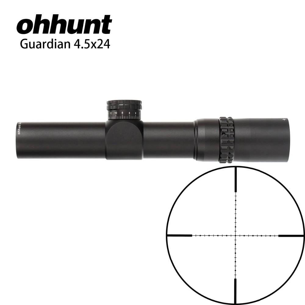 ohhunt Guardian 4.5x24 Hunting Compact Riflescope Wire Reticle 1/2 Half Mil Dot 30mm Tube Optical Sights for Tactical Rifle tactical hunting shooting riflescope optical 3 9x32 aolwq 1inch tube mil dot compact with sun shade and qd rings for hunting