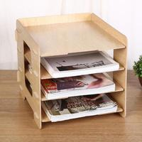 Стол Пластик хранения Стойки 4 слоя, коробка для хранения A4 Бумага коробка для хранения файлов Офис Организатор #20