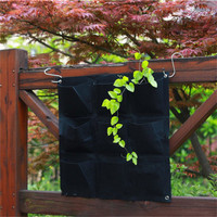 Large 9 Pockets Hanging Flower Pot Polyester Wall Mounted Vertical Gardening Flower Pot Planting Bag Living Indoor Wall Z30