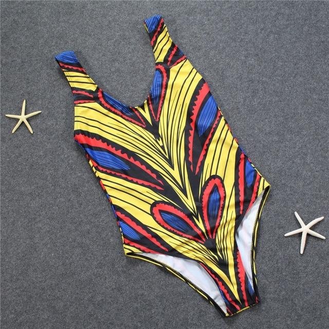 Sexy African Ankara Printed One Piece Swimwear