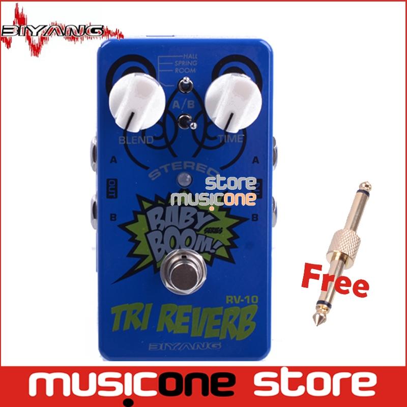 Prix pour Biyang Baby Boom RV-10 bleu Effets 3 Mode Tri Reverb stéréo True Bypass Guitare Électrique Pédale d'effet avec or pédale connecteur