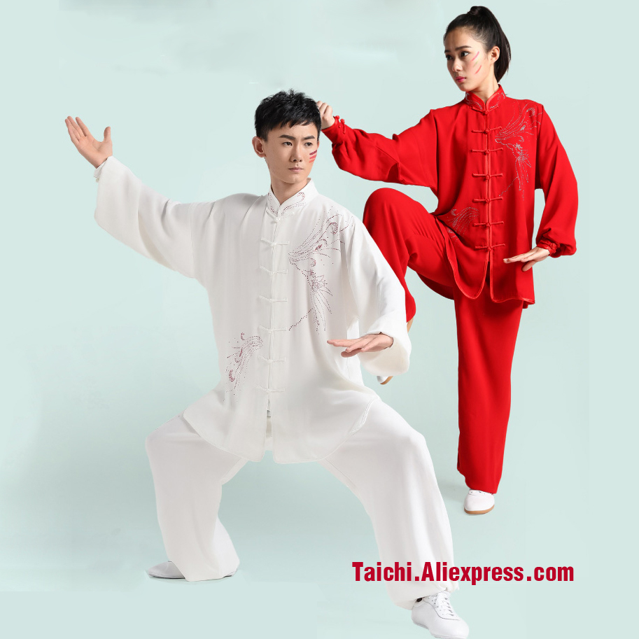Tai Chi Clothing Female Hand Made Embroidery Clothes   Taijiquan Martial Arts Clothing Red And White