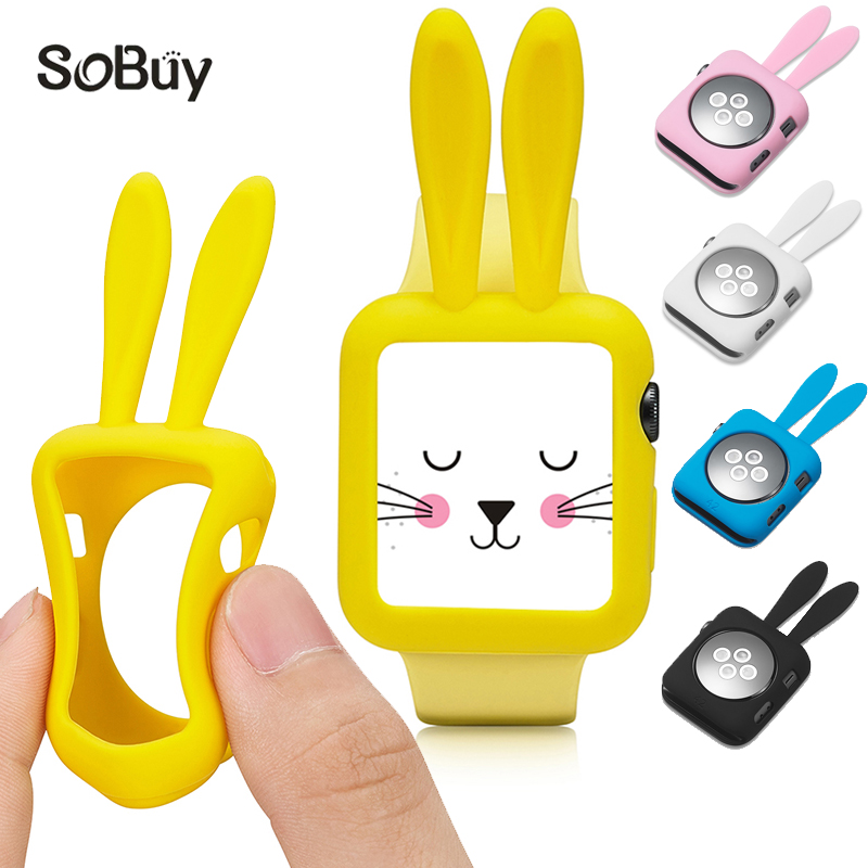 So buy for Apple Watch 1/2/3 sport Series 38mm Cartoon Rabbit Silicone Case 42mm Rubber  ...