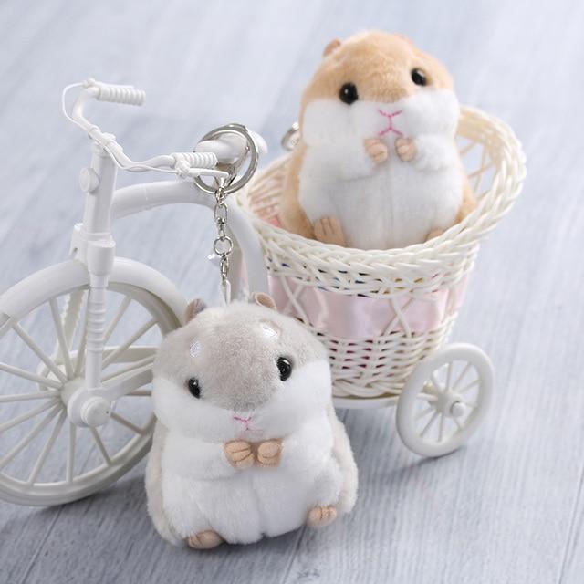 1 Pc 2017 Nova Bonito Bugiganga Hamster Mini Chaveiros Mulheres Boneca de Brinquedo macio Keychain Anel Chave Do Carro Chaveiro de Pele De Coelho presente