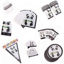 Cartoon Panda Theme Happy Birthday Party Straw Plate Tablecloth set Christmas Wedding For Home decoration