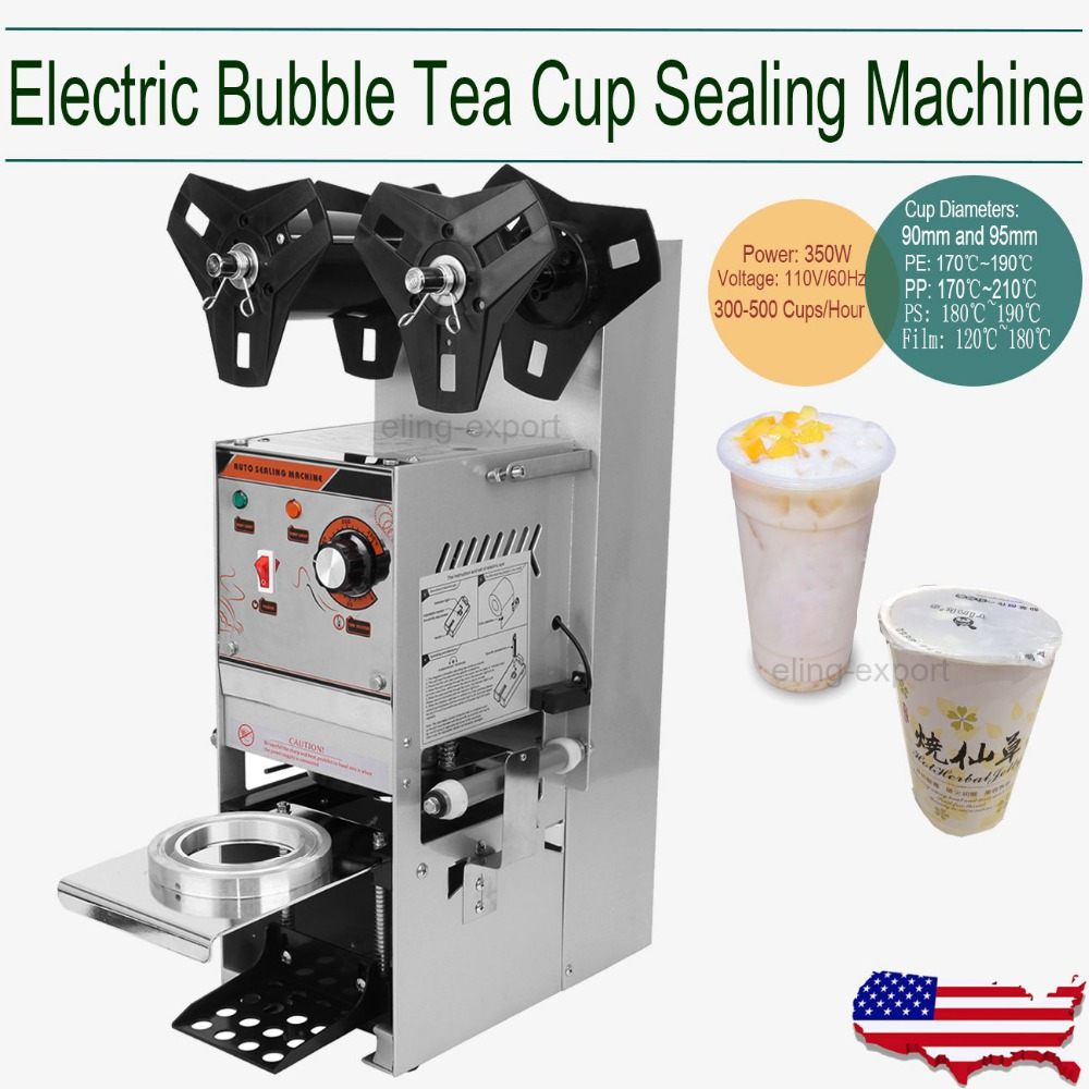 (Ship from US) Automatic Cup Sealing Machine Stainless Steel Drinking filling Sealing for Tea Juice bubble 300-500 Cups/hour ce semi automatic plastic bubble tea sealing machine electric 300 500 cups hour cup sealer cup sealing machine food processor