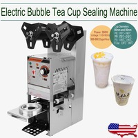 (Ship from US) Automatic Cup Sealing Machine Stainless Steel Drinking filling Sealing for Tea Juice bubble 300 500 Cups/hour