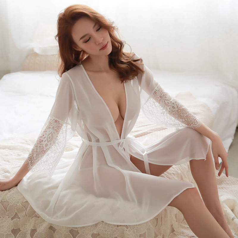 (Robe+T String+Sash) Sexy Night Dress Thin See-through Sleepwear Female Nightgown Women Sleeping Dresses Hot Night Lace Dresses