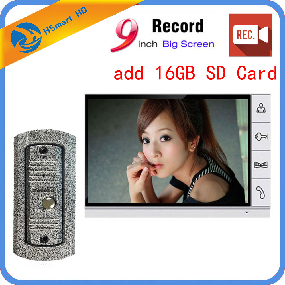9 Inch Big Screen+16GB SD Card Video Record Door Phone Intercom System Outdoor Waterproof Doorbell Camera Intercom Door Bell