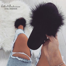 ETHEL ANERSON Women Ostrich Feather Slippers Fluffy Summer Slides Flat Home Flip Flops Fuzzy Casual Party