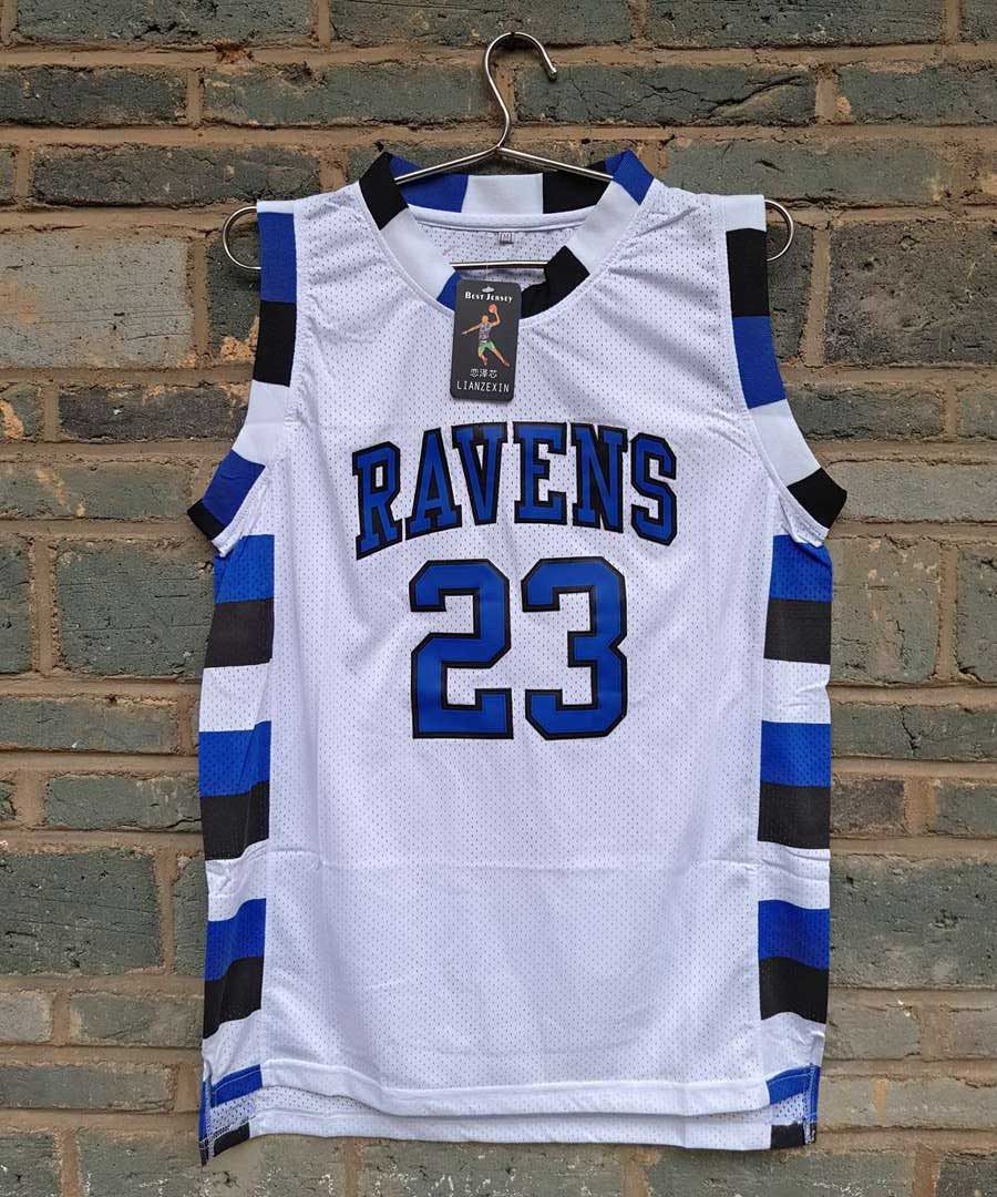 Prix pour LIANZEXIN Le film version de One Tree Hill #23 Ravens Ravens HS Scott Besoin double Hommes de basket-ball jersey Blanc Sur vente