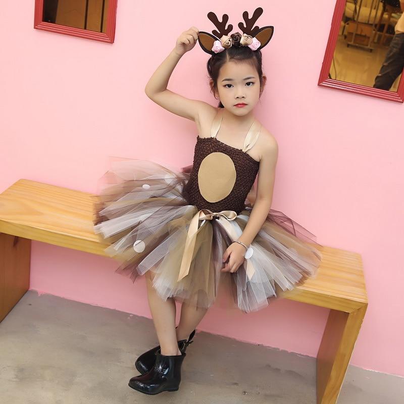 Little Girls Christmas Eve Xmas Dress up Party Dresses Santa Reindeer Costume New Year Tutu Mesh Dresses up with Headband