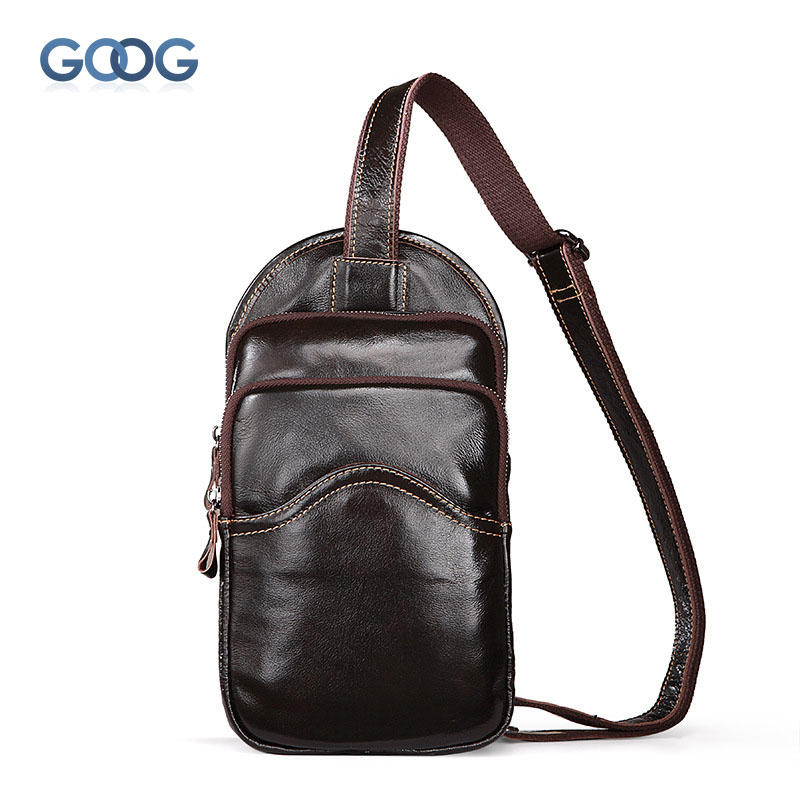 Home The New Mens Bag Of Pure Color Leisure Leisure Chest Bag Head Layer Of Leather Wear-resistant Vertical Square Shoulder Bag